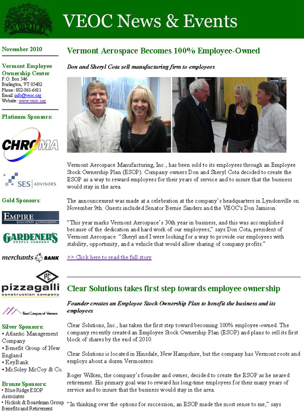 Newsletters  Vermont Employee Ownership Center